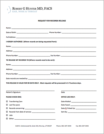 Request for Records Release Form